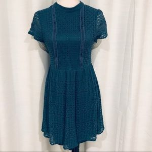 Francesca teal blue lace mini dress size S